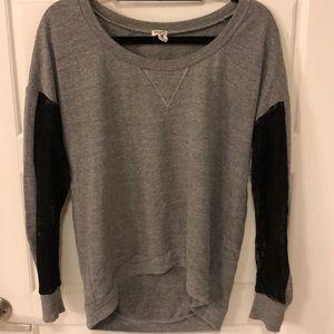 Splendid Grey Sweatshirt with Lace Sleeves